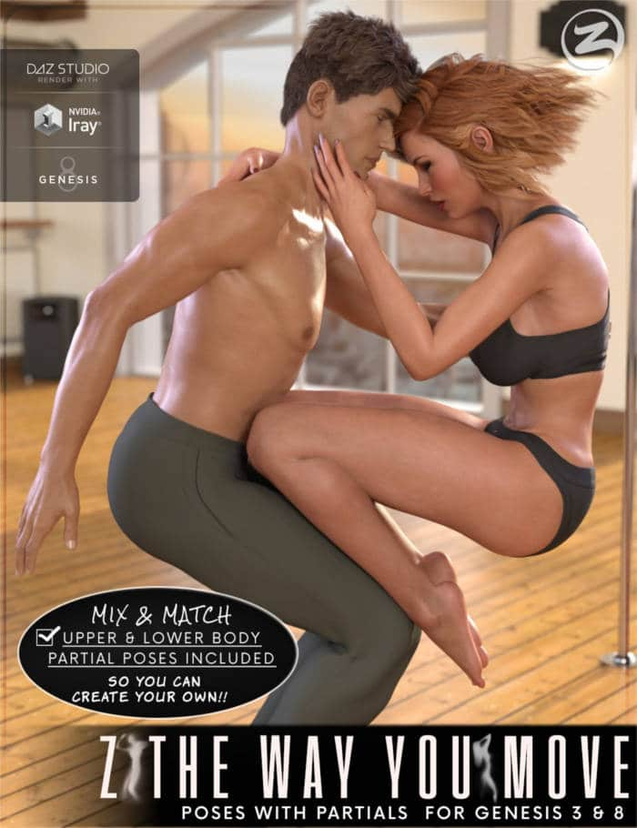 Z The Way You Move – Dance Poses with Partials for Genesis 3 & 8
