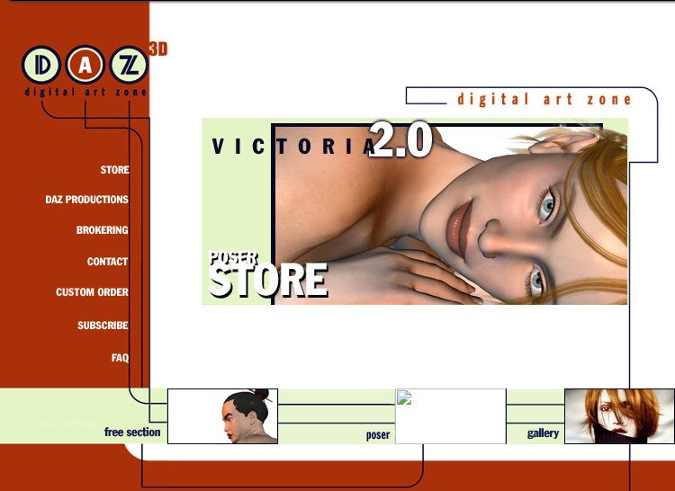 The Daz3D website as it appeared in 2001