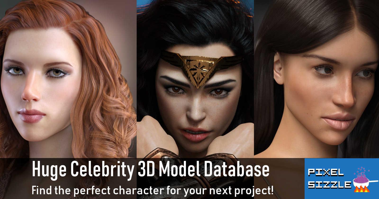 Huge Celebrity 3D Model Database here at Pixelsizzle.com